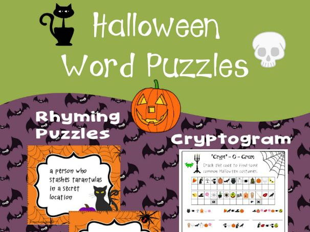 Halloween Word Puzzles - Cryptogram and Rhyme Puzzles (Hinky Pinkies)