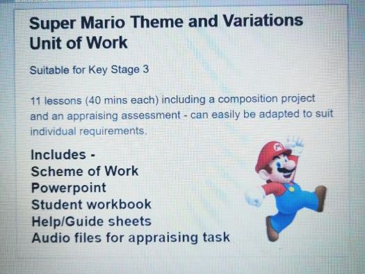 Super Mario Theme and Variations Unit of Work - Key Stage 3
