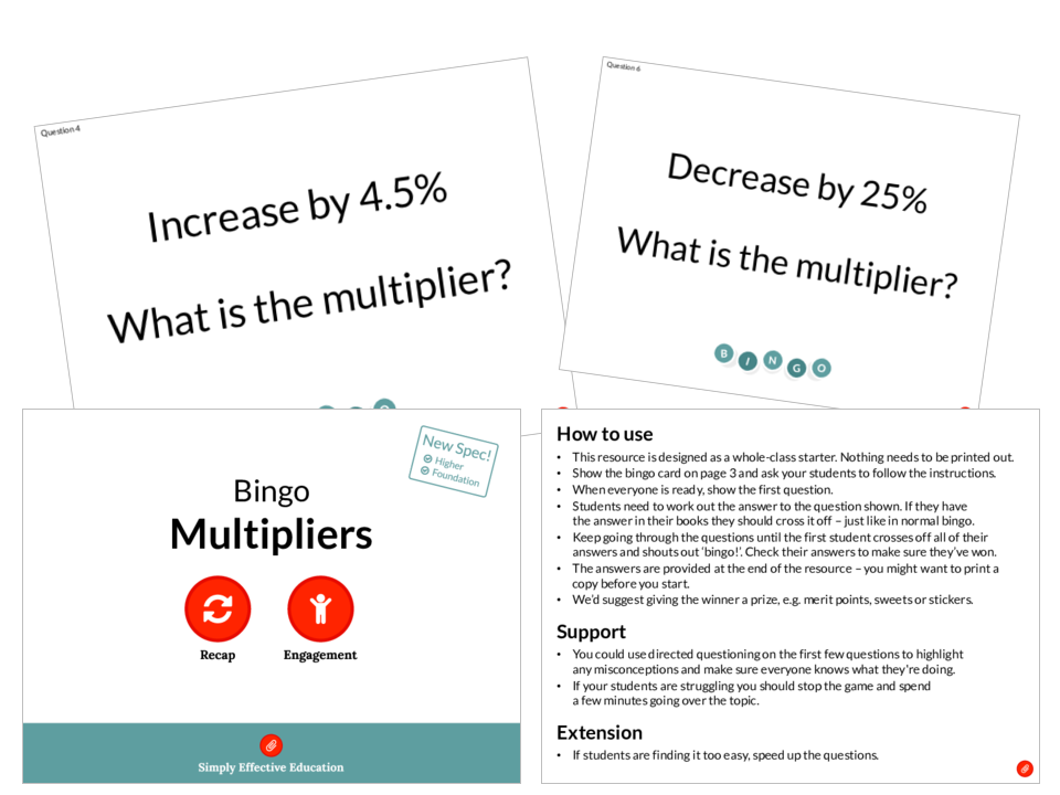 Multipliers (Bingo)