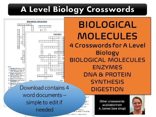 Biological Molecules A Level Biology Crosswords