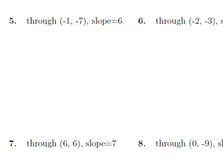 Equation of a line worksheets (with solutions)