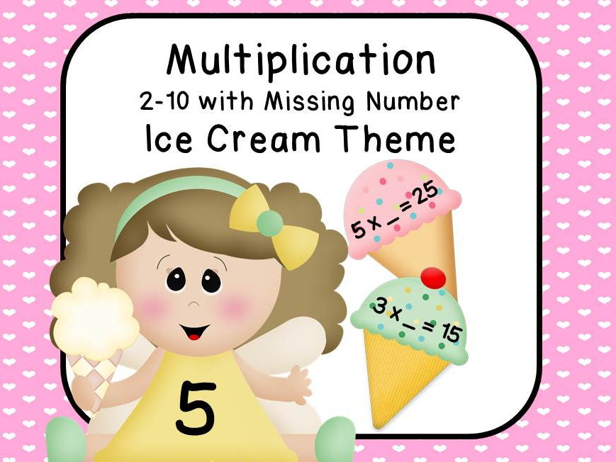 Multiplication 2-10 Ice Cream Theme