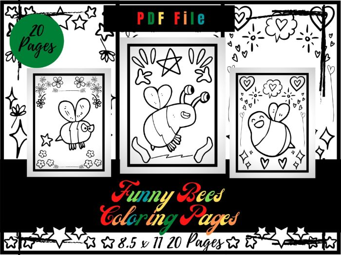 Funny Bees Colouring Pages For kids, Printable Bugs & Insects Colouring Sheets PDF