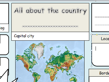 KS1 & 2 Geography –All About A Country blank template