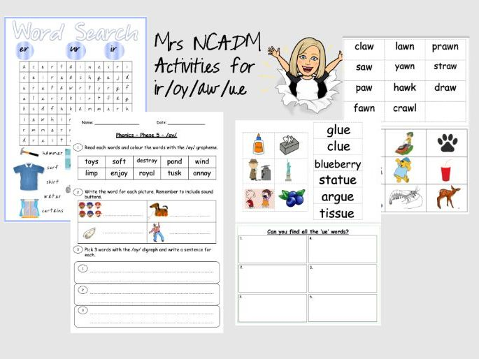 Phase 5a Activities for ir /oy / aw /ue (Letters and Sounds)