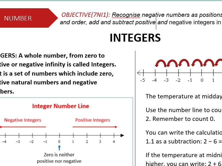 INTEGERS LESSON NOTES-USING/ORDERING/ADDING AND SUBTRACTING INTEGERS