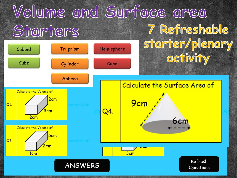 Volume and Surface Area refreshable starter/plenary activity