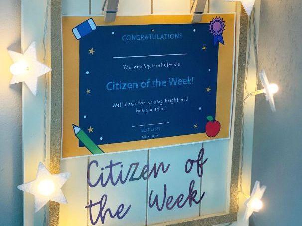 Citizen of the Week Certificates