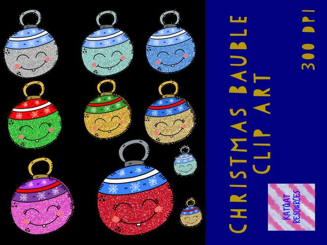 Cute Christmas Glitter Bauble Clip Art