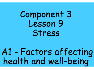 Health and Social Care BTEC Tech Award Level 2 Component 3 Lesson 9 - Stress PIES