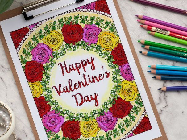 """Happy Valentine's Day Coloring Page   Printable 8.5x11"""" PDF coloring page"""
