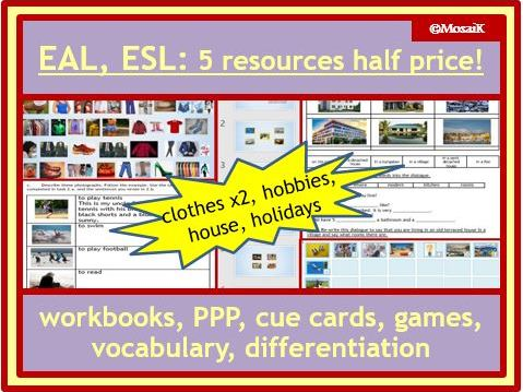 ESL EAL English resources house, holidays, clothes, hobbies