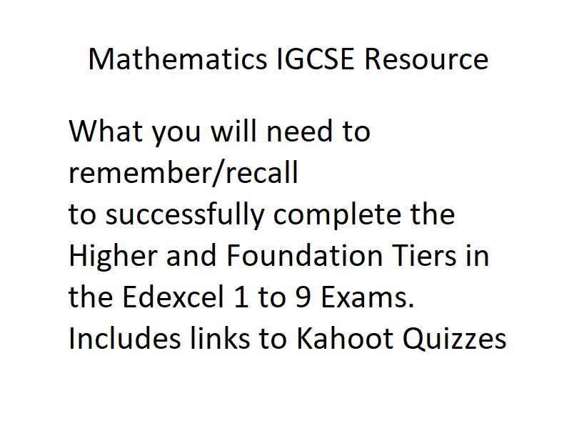 IGCSE Mathematics Knowledge Foundation/Higher (Edexcel) with Kahoot quizzes