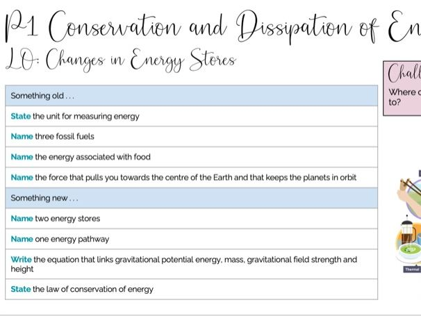 P1 Changes in Energy Stores