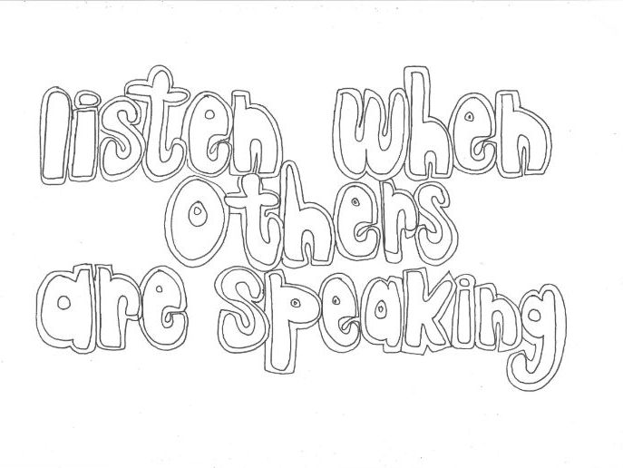 Listen When Others are Speaking: Classroom Rules Colouring Page