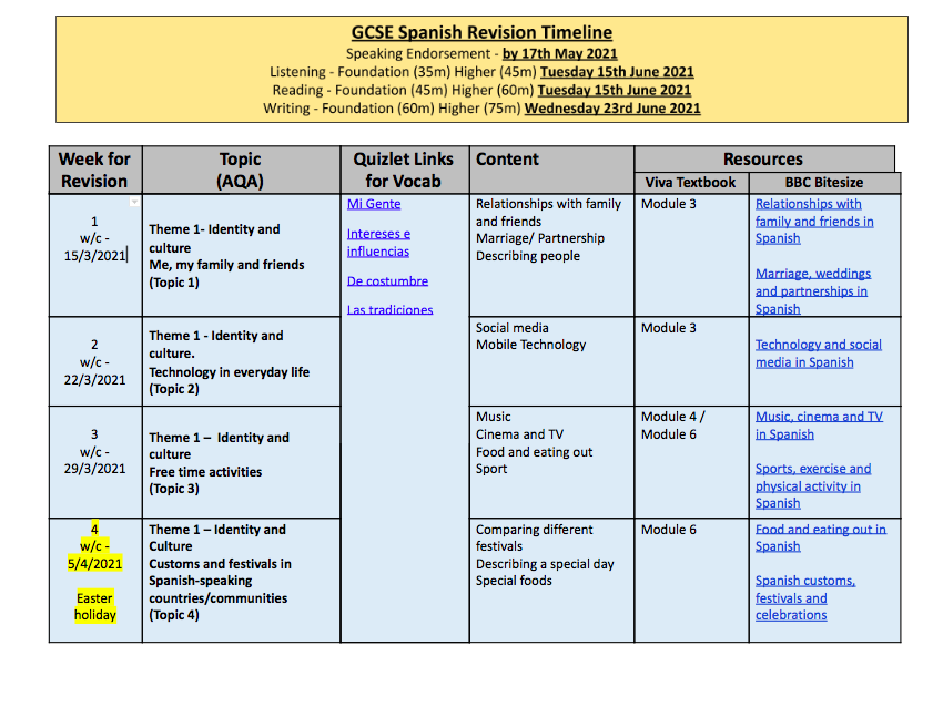 GCSE Spanish Revision Timetable 2020/2021