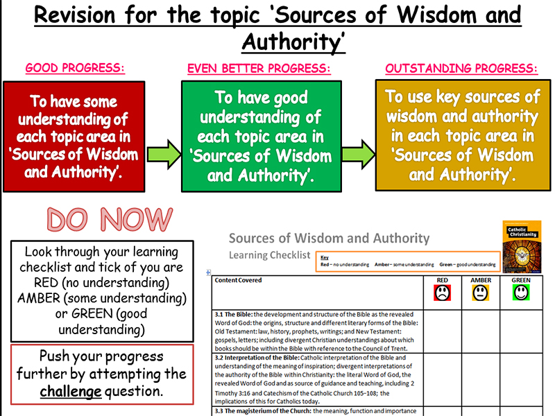 Revision lesson for Sources of Wisdom and Authority including checklist - New Specification
