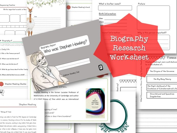 Biography Research Report / Stephen Hawking Biography worksheet