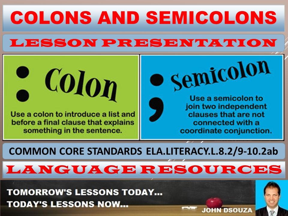COLON AND SEMICOLON LESSON PRESENTATION