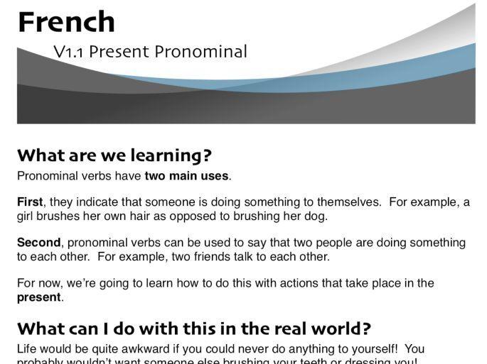 Present Pronominal (Reflexive) Verbs