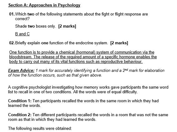 Model Answers to AS Psychology Paper 2 Specimen Second Set