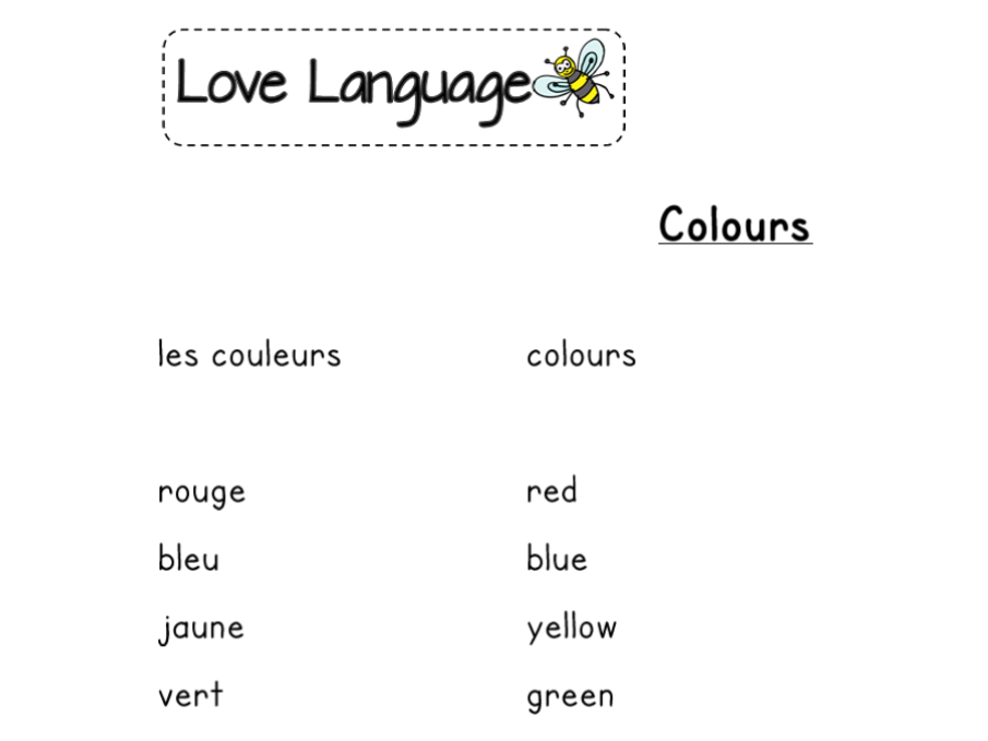 Colours in French - vocabulary