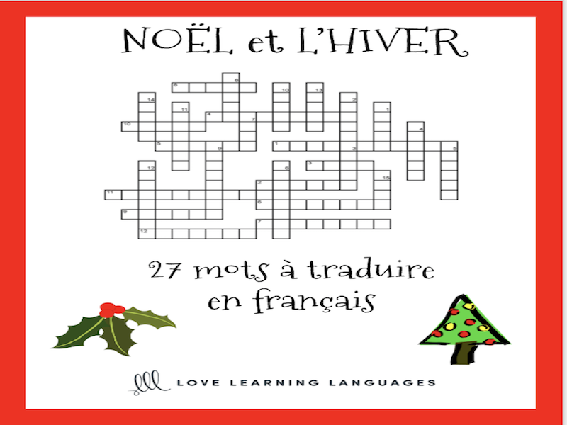French Noël Mots Croisés - French Christmas Crossword Puzzle