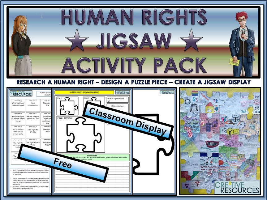 Human Rights Jigsaw Classroom Display Activity Pack