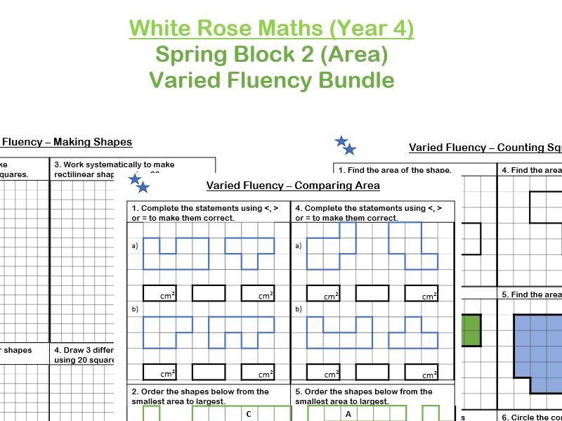 White Rose Maths - Year 4 - Spring Block 2 - Area (Varied Fluency Practice Bundle)