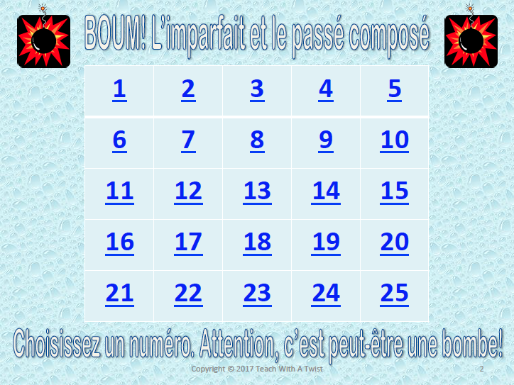 BOUM! Imparfait et passé composé review - end of year / end of unit game
