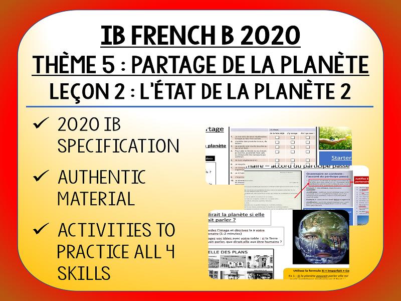 IB FRENCH B 2020 - Partage de la Planète - L2 - L'état de la planète 2