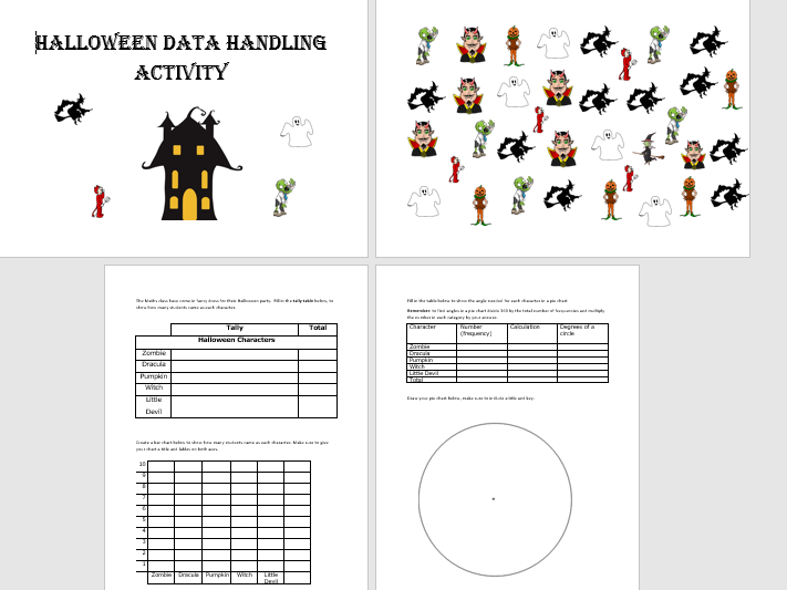 GCSE Maths/Functional Skills- Halloween Themed Handling Data Activity