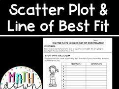 Scatter Plot & Line of Best Fit Investigation Activity!