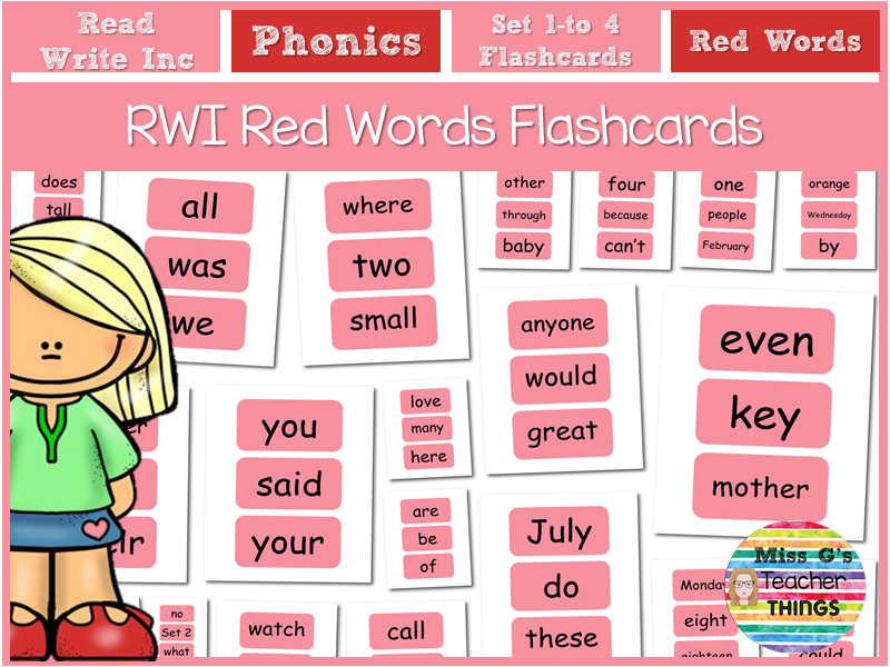 RWI Read Write Inc Red Word Flashcards Set 1 to 4 Phonics Reading