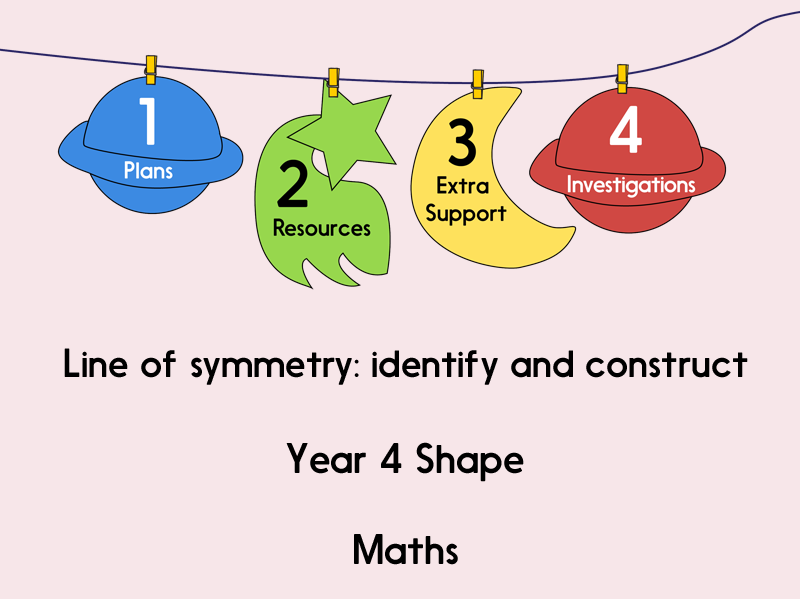 Line of symmetry: identify and construct (Year 4 Shape)
