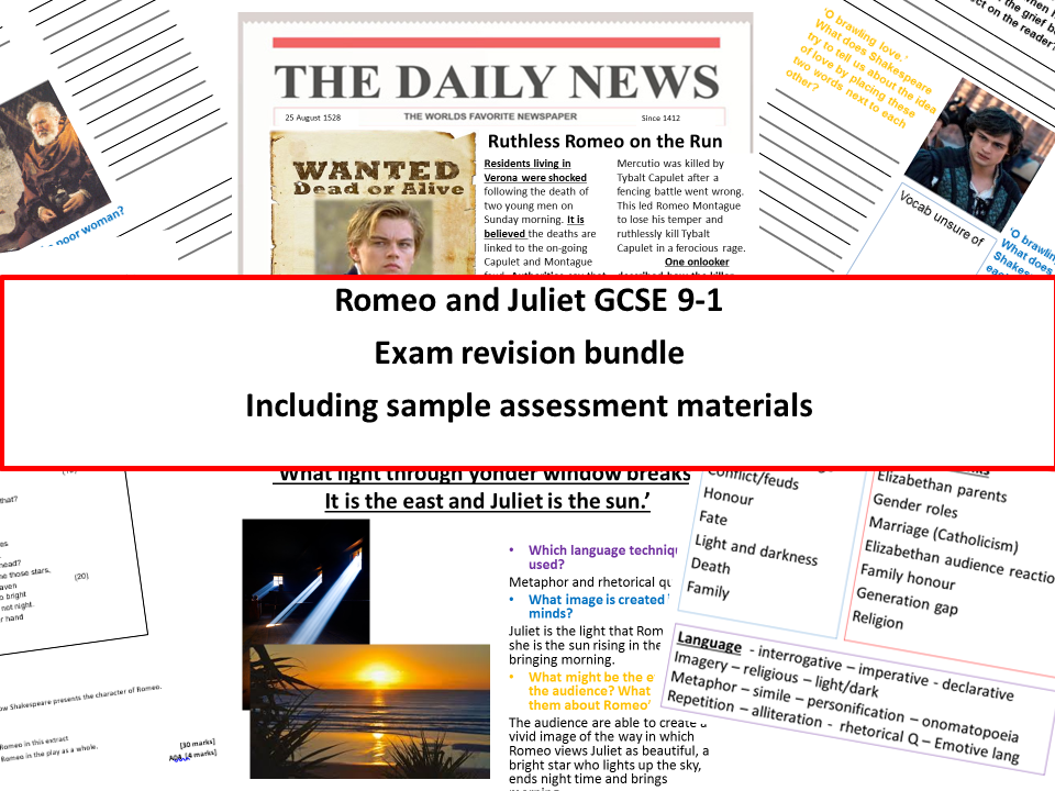 Romeo and Juliet Exam revision bundle new specification 9-1 with sample assessment materials