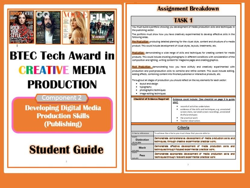 BTEC Tech Award in Creative Media Productions- Student Guide