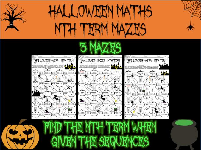 Halloween maths - nth term mazes