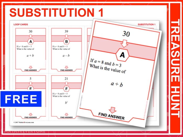 Substitution 1, Positive Numbers (Treasure Hunt)