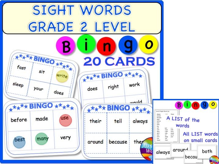Popular Sight Word List BINGO GAME for GRADE 2 Level