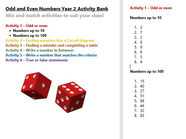 Odd and Even Numbers Year 2 Activity Bank (Differentiated)