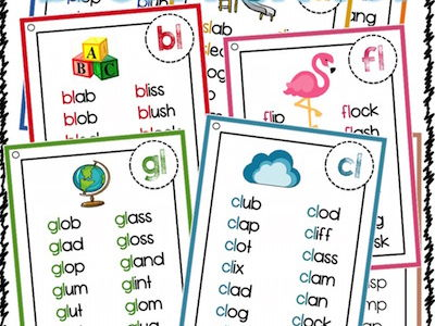 Blend words list - bl cl fl gl pl sl