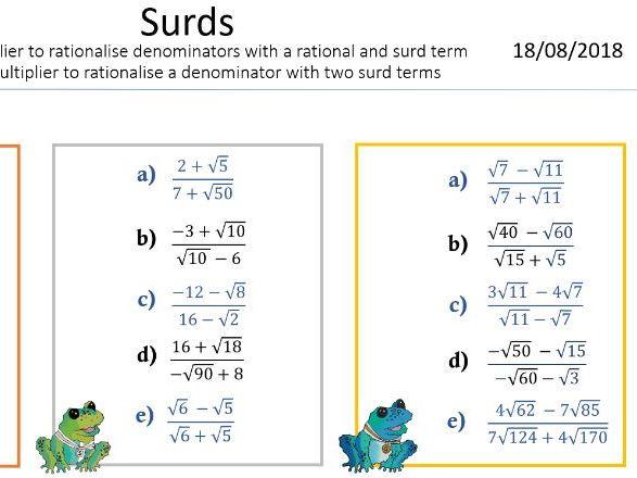 Surds - Rationalising the Denominator - 2 terms denominator