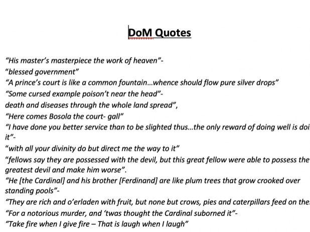 'The Duchess of Malfi'- Quote Bank and Critics