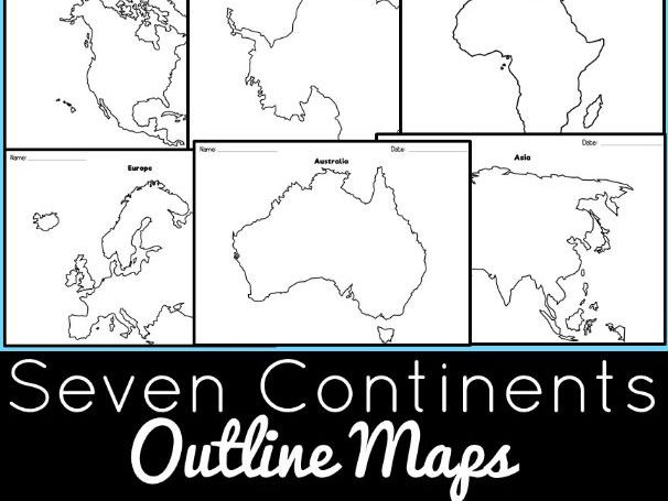 Seven Continents Outline Maps