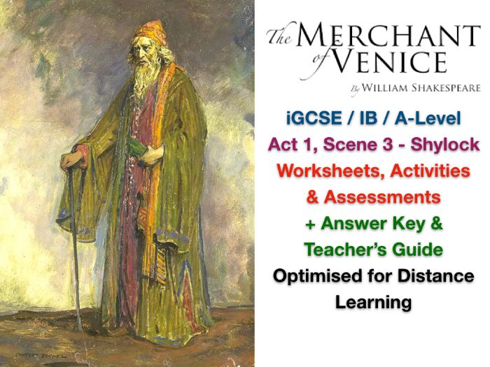 The Merchant of Venice - Act 1, Scene 3: Shylock - ACTIVITIES + ANSWERS