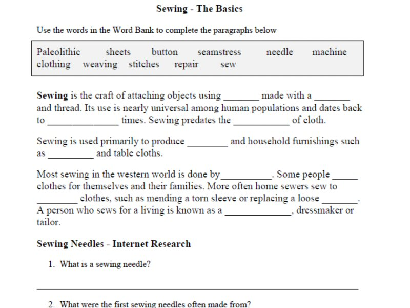Sewing The Basics Introductory Worksheets for Mandatory – Sewing Worksheets