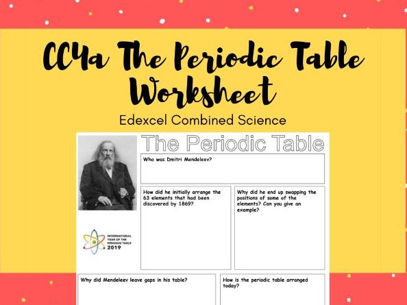 CC4a History of the Periodic Table Worksheet (Edexcel Combined Science Chemistry)