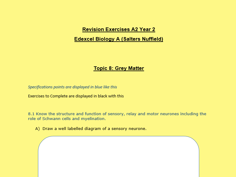 Revision booklet for Edexcel Biology A Topic 8 - Grey Matter- Nuffield A2.