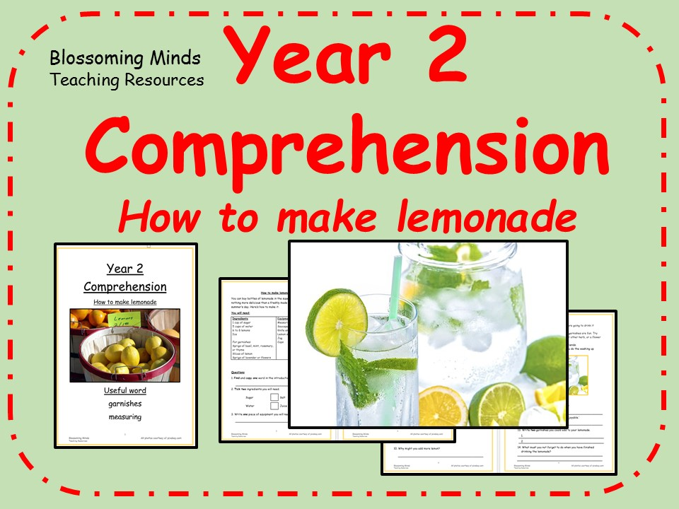 Year 2 non-fiction comprehension - Making lemonade